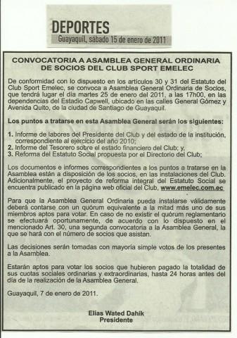 emelexista emelec convocatoria asamblea Emelec