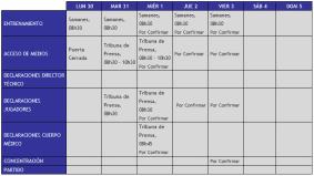 Boletín Oficial : Cronograma de Trabajo semana del 13 al 19 de Agosto