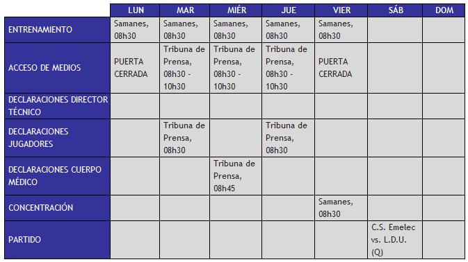 Boletin oficial : Cronograma de Trabajo 10 al 16 de Septiembre
