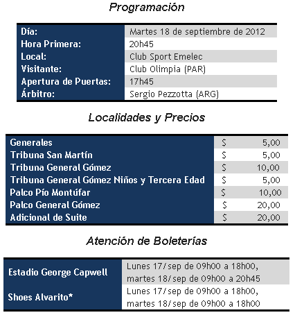 precio de entradas : emelec vs olimpia