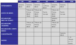 Boletín Oficial : Cronograma de Trabajo semana 15 al 21 de Octubre