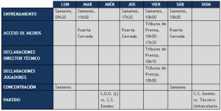 Boletín Oficial : Cronograma de Trabajo 19 al 25 de Noviembre