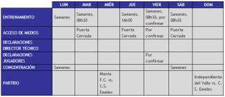 Boletin Oficial : Cronograma de Trabajo 5 al 11 de Noviembre