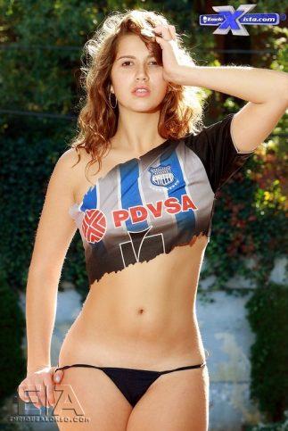 foto de chica sexy con camiseta de emelec