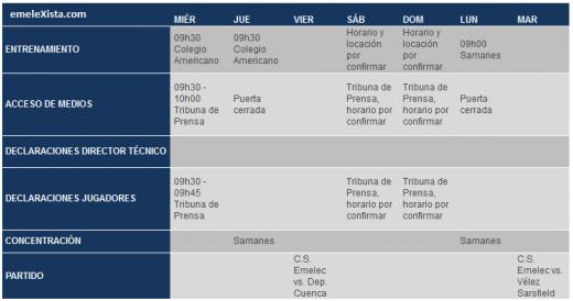 cronograma de trabajo que tendrá el equipo de Primera A del 6 al 12 de febrero
