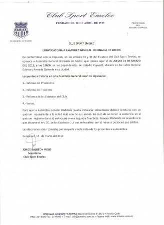 CONVOCATORIA A ASAMBLEA GENERAL ORDINARIA DE SOCIOS