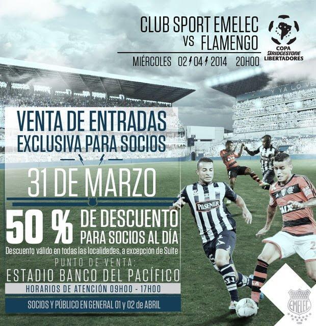 Venta Exclusiva de entradas para Socios : EMELEC vs. Flamengo