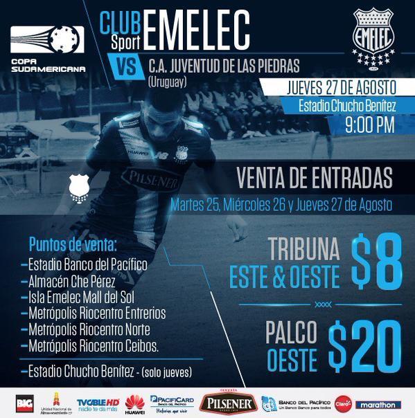 copa sudamericana : precio de boletos : emelec vs. juventud