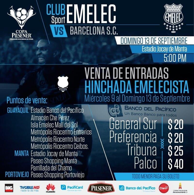 boletín oficial : venta de boletos partido emelec vs. barcelona