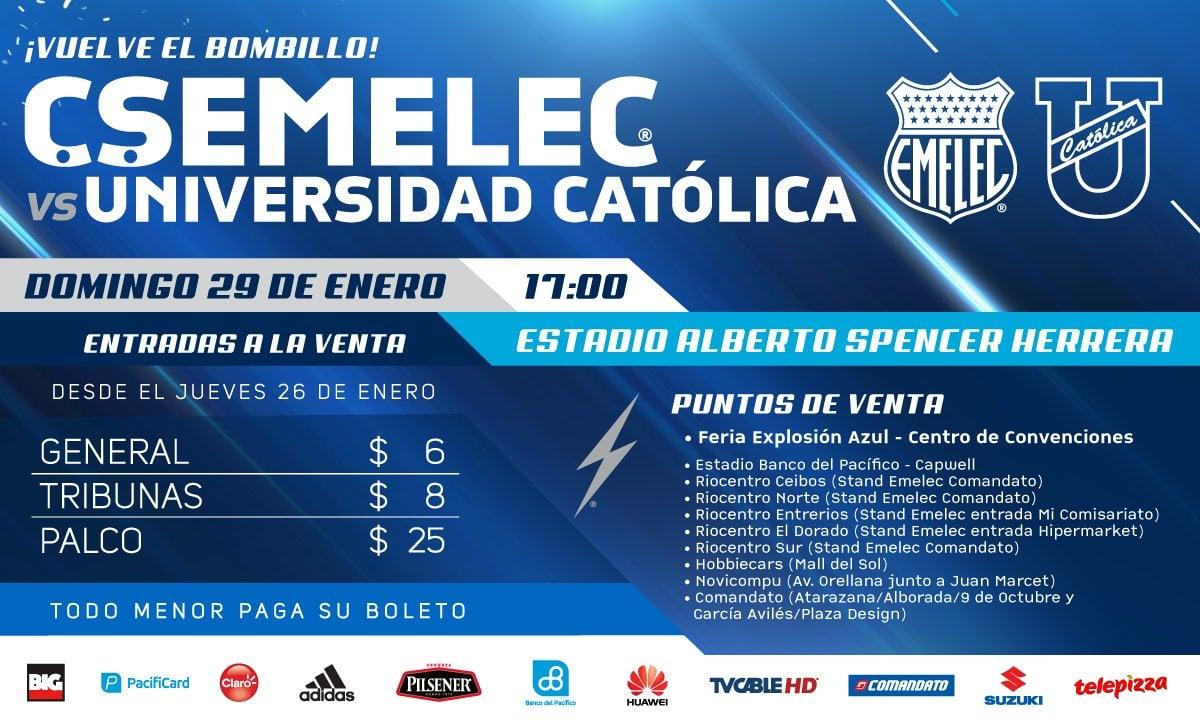 ¿Cuánto cuestan las entradas: EMELEC vs. Universidad Católica?