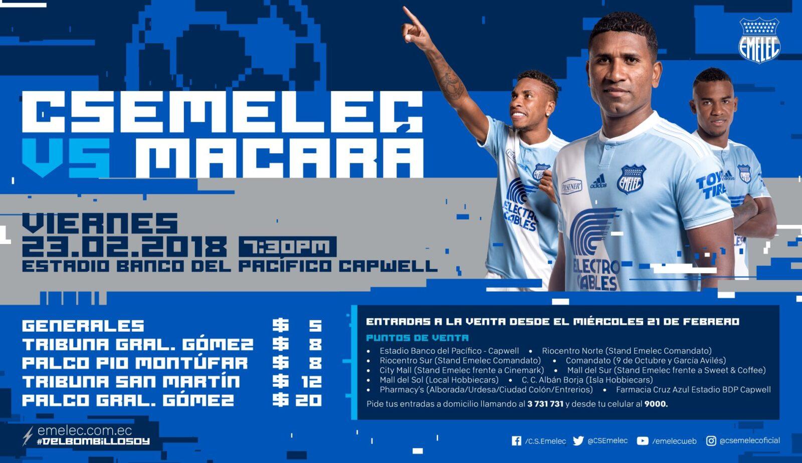 Precio de boletos para el duelo EMELEC vs Macará