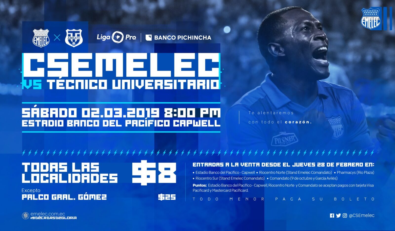 ¿Cuánto cuestan los boletos EMELEC vs. Técnico?