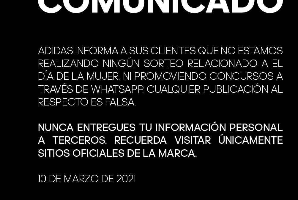 ADIDAS ALERTA SOBRE PROMOCIÓN FALSA EN LA WEB